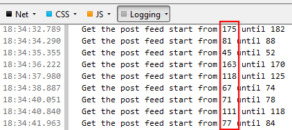 Showing log message to indicate random number for feed start index purpose.